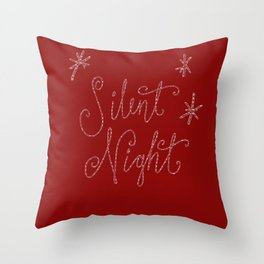 Merry Christmas- Silent Night- Typography and stars  on festive red Throw Pillow