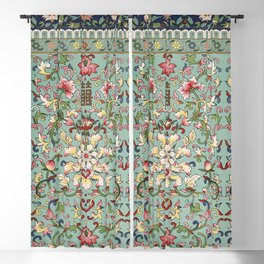 Asian Floral Pattern in Turquoise Blue Antique Illustration Blackout Curtain