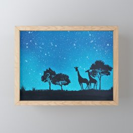 Giraffe Silhouette Painting Framed Mini Art Print