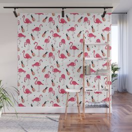 Flamingo and Pineapple Tropical Pattern Wall Mural