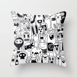 Funny monsters pattern Throw Pillow