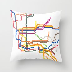 NYC Subway System (Complete) Throw Pillow