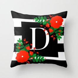 D - Monogram Black and White with Red Flowers Throw Pillow