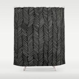 Herringbone Cream On Black Shower Curtain