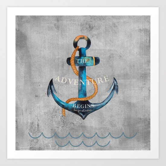 Maritime Design- Nautic Anchor Navy Marine Beach Art Print
