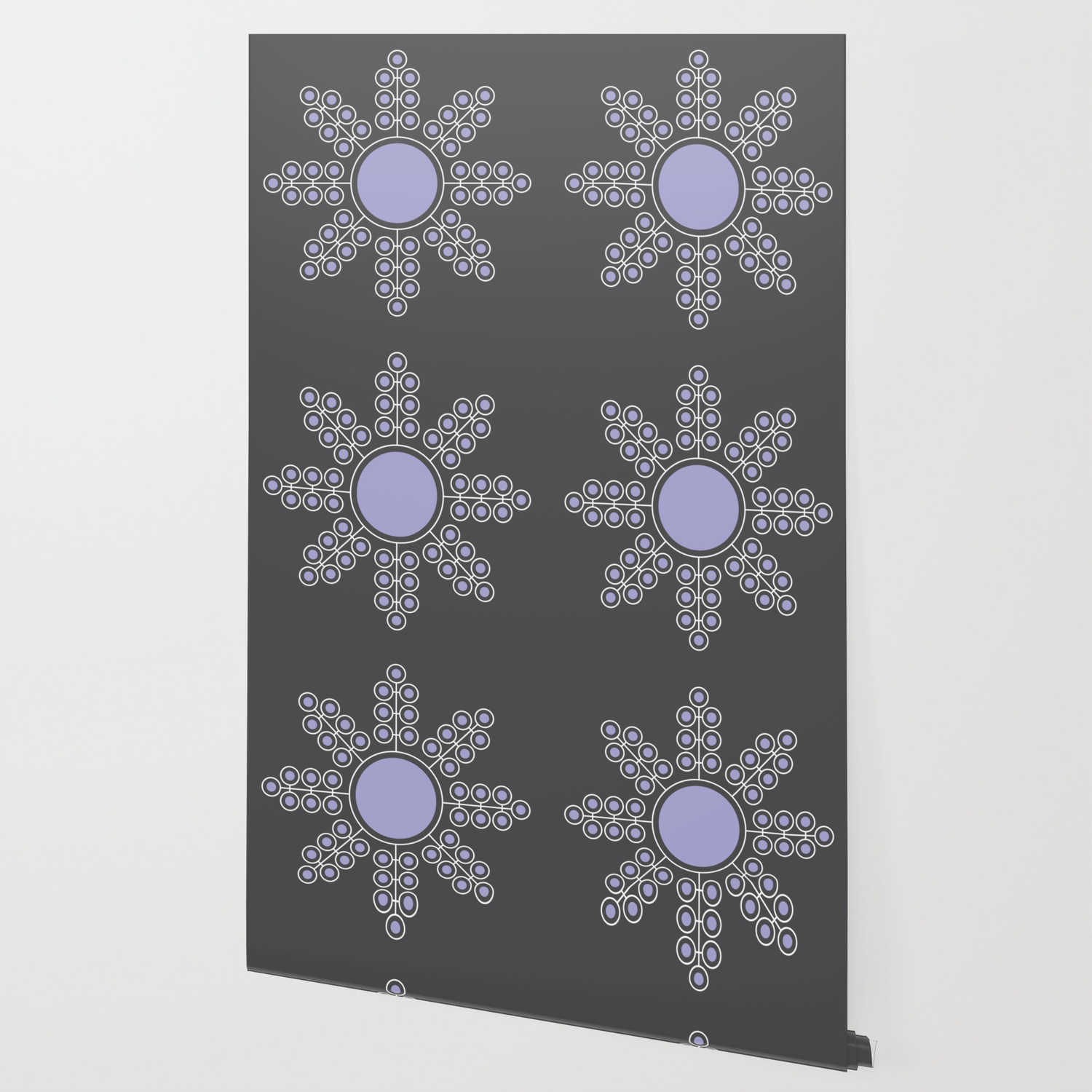Minimalist Floral Circle Lavender Charcoal Black Wallpaper By