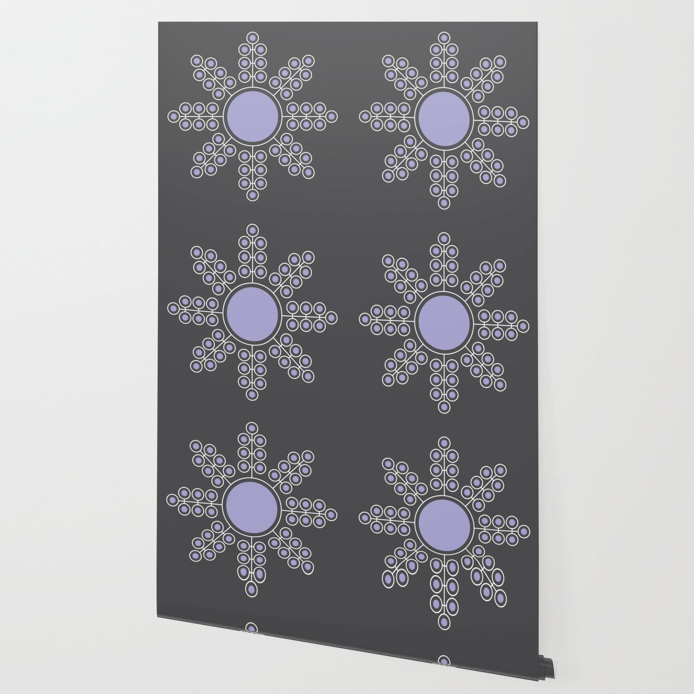 Minimalist Floral Circle Lavender Charcoal Black Wallpaper By