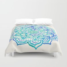 Watercolor Medallion in Ocean Colors Duvet Cover
