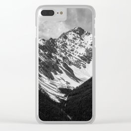Black and White Canadian Rockies Clear iPhone Case