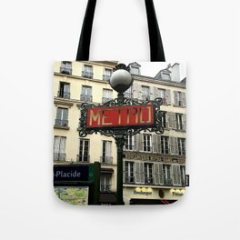 Metro sign of Paris Tote Bag