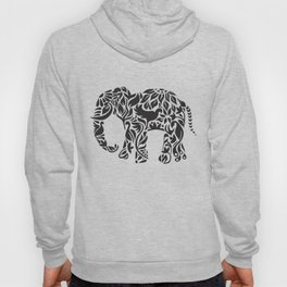 Elephant Flourish in Black Hoody