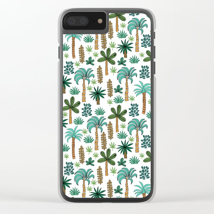 Tropics palm trees pattern print summer tropical vacation design by andrea lauren Clear iPhone Case