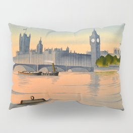 Westminster And Big Ben From The River Thames London Pillow Sham
