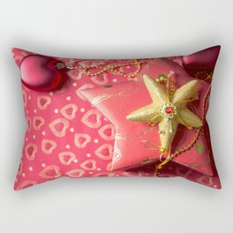 Christmas decoration at red background Rectangular Pillow