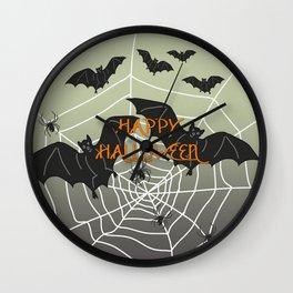 Flying Bat Happy Halloween Wall Clock