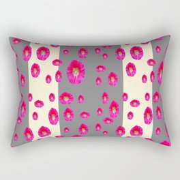 PINK-CERISE ASSORTED FLOATING HOLLYHOCK FLOWERS Rectangular Pillow