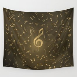gold music notes swirl pattern Wall Tapestry