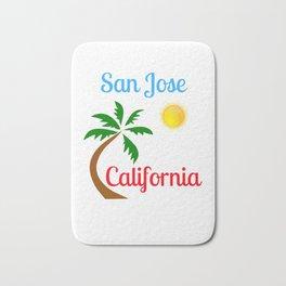 San Jose California Palm Tree and Sun Bath Mat