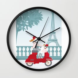 Shopping in Paris Wall Clock
