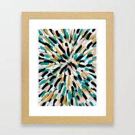 Teal, Pink, and Gold Paint Burst Framed Art Print
