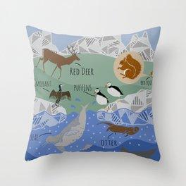 Scottish Wildlife Throw Pillow