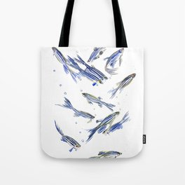 Fish art Danio zebra fish, gray-blue aquatic beach home decor Tote Bag