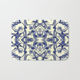 blue and white Digital pattern with circles and fractals artfully colored design for house Bath Mat