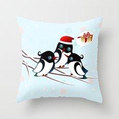 Winter Birds Christmas Wish Throw Pillow
