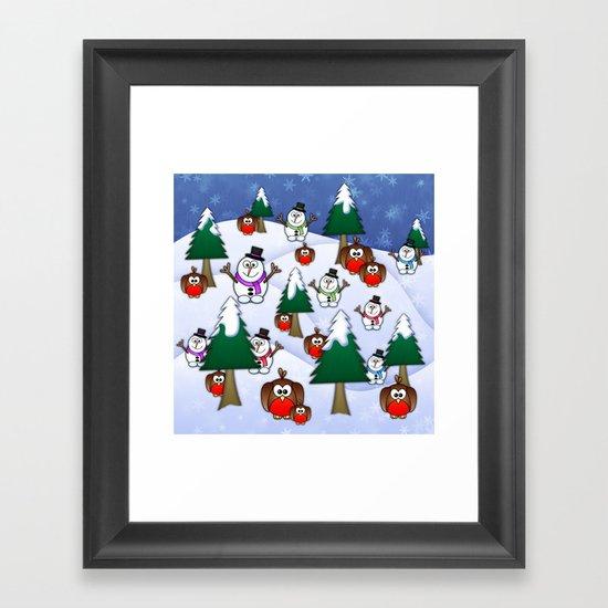 Rocking Robin In A Winter Wonderland. Framed Art Print