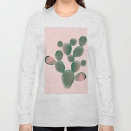 Watercolored Cactus on Pink Long Sleeve T-shirt