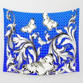 WHITE BUTTERFLIES FLUTTERING WITH BAROQUE FLORAL Wall Tapestry