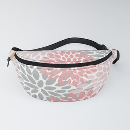 Modern, Flowers Print, Coral, Pink and Gray Fanny Pack