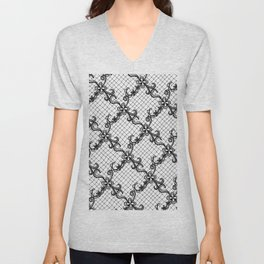 Floral Lace Hand Drawn in Black and White Unisex V-Neck