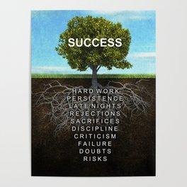 Success Tree Motivational Wall Art Entrepreneur Hustle Motivation Poster