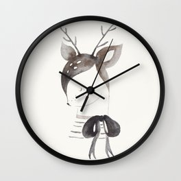 Cute Fawn with Bow Wall Clock