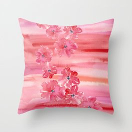 Tropical Floral Fruit Punch Throw Pillow