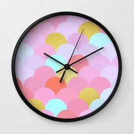 Golden and colorful spheres IV Wall Clock