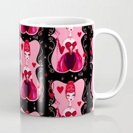 Queen of Hearts on Black Coffee Mug