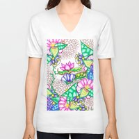 preppy V-neck T-shirts featuring Bright modern botanical preppy floral watercolor by Girly Trend