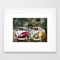volkswagon Framed Art Prints featuring VW Camper Van by yairi