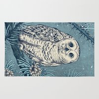 hedwig Area & Throw Rugs featuring Winter Snowy Owl by Angela Rizza