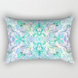 Painted Rainbow Doodles Rectangular Pillow