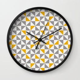 MID CENTURY MODERN Geometric Pattern Yellow Brown and cream Wall Clock