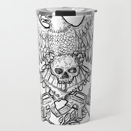 Eagle Skull Assault Rifle Drawing Travel Mug