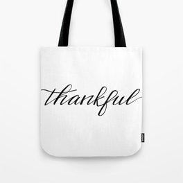 Thankful Calligraphy Tote Bag