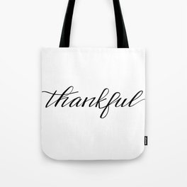 Thankful Calligraphy Tote Bag