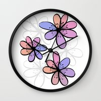 cherry blossoms Wall Clocks featuring Cherry Blossoms by Kara Peters
