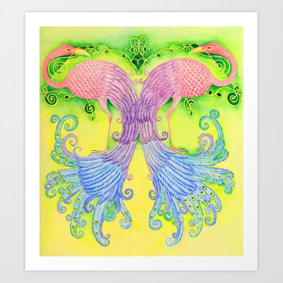 Flamingo-Peacock Art Print