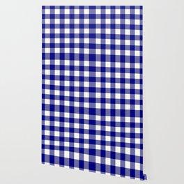 Gingham (Navy Blue/White) Wallpaper