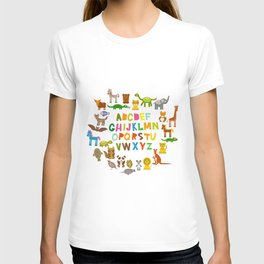 back to school. alphabet for kids from A to Z. funny cartoon animals T-shirt
